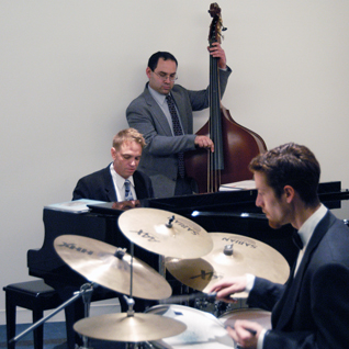 JD Sebastian Jazz Trio with Upright Bass and Drums, performing at a Corporate Holiday Party in Glendale, California